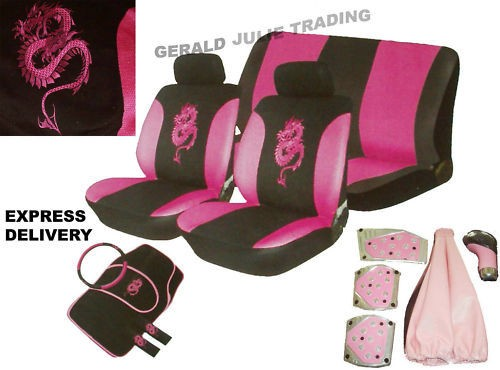 18pc Pink Dragon Car Seat Steer/Wheel Mats Pedal Covers