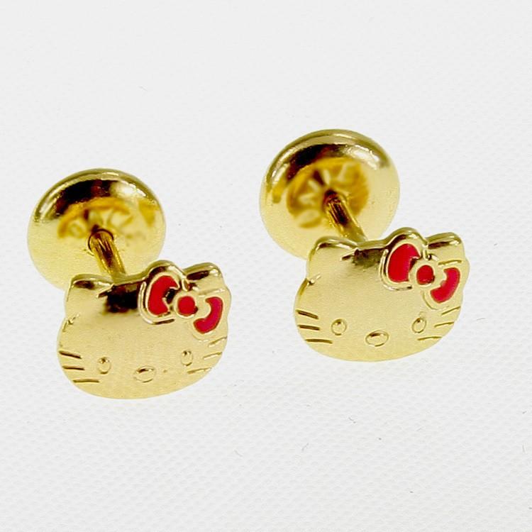 Gold 18k GF Pink Enamel Earrings Security Stud Hello Kitty Infants