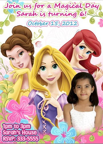 DISNEY PRINCESS AND TANGLED BIRTHDAY PARTY INVITATIONS AND MATCHING