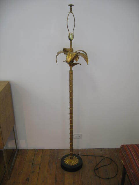 VINTAGE GOLD HOLLYWOOD REGENCY PALM TREE FLOOR LAMP