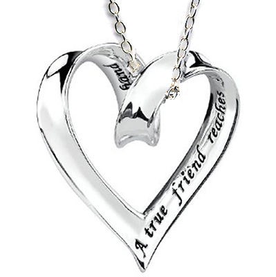 Best Friend Sliding Ribbon Heart Charm Silver 925 Friendship Necklace