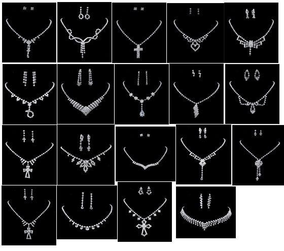 choose Fashion Wedding Set, white Rhinestone Crystal Necklace Earrings