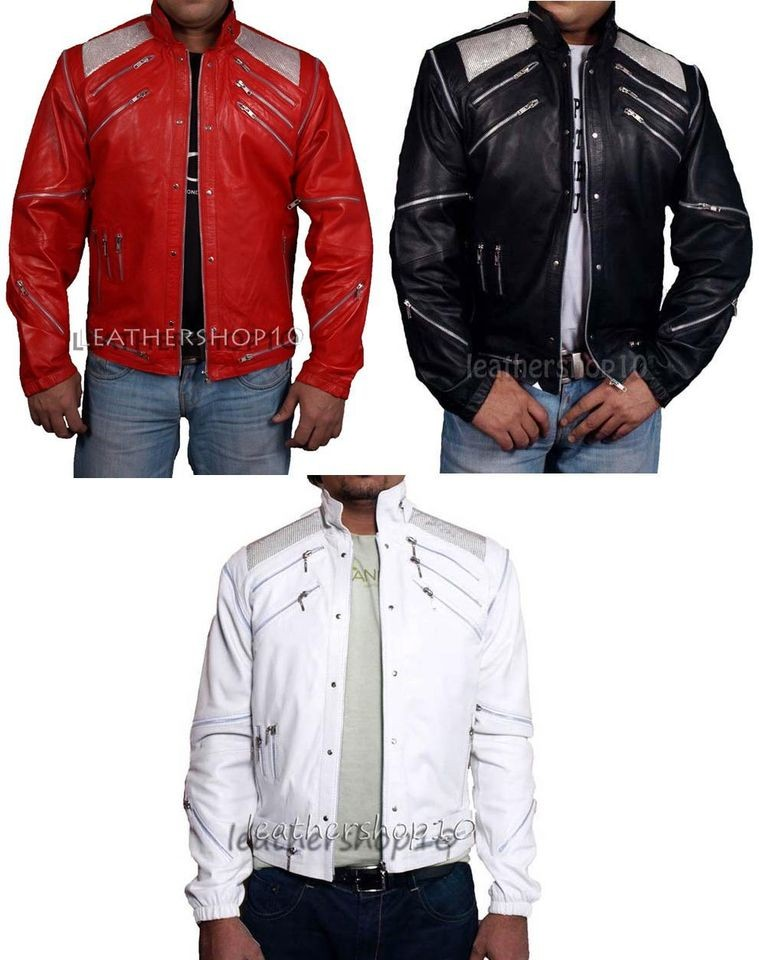 Pop Star Michael Jackson Beat it Leather Jacket Red White Blue Green