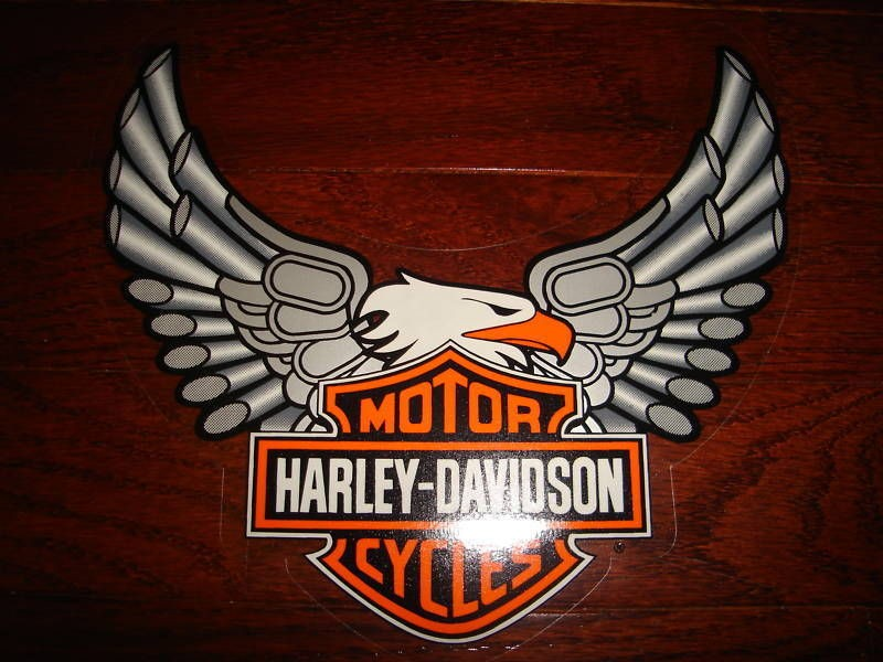 New Harley Davidson Bar & Shield Silver Pipes Eagle Window Decal Stick