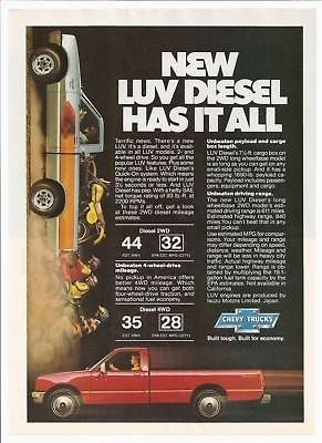 1981 Chevy LUV Diesel Pickup Truck photo print ad