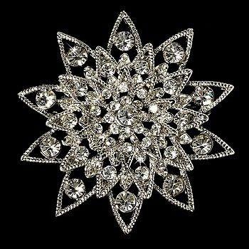 Starburst Crystal Bridal Brooch Comb Cake Brooch