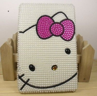 Pearl Hello Kitty crystal hard back cover case for  Kindle Fire