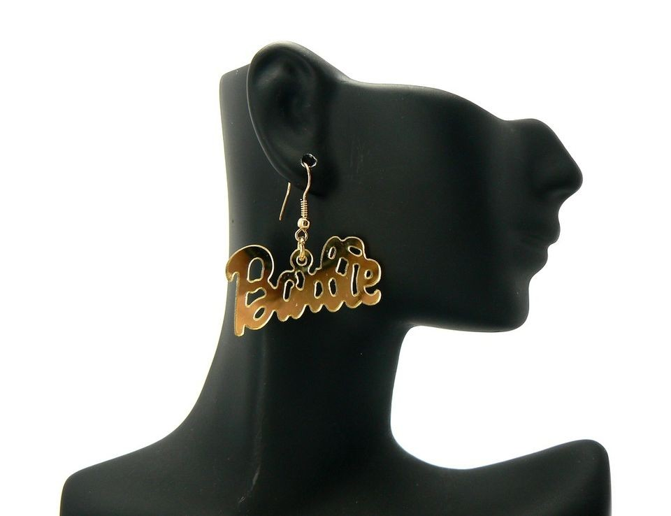 Nicki Minaj Inspired Mirror Polished Barbie Hook Post Earring Gold