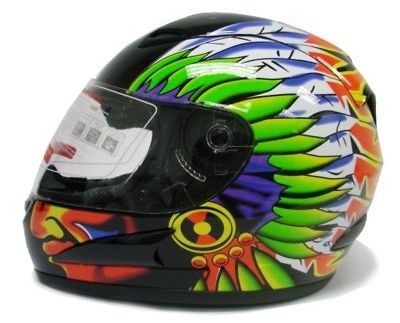 CHIEF FULL FACE MOTORCYCLE SCOOTER STREET SPORT BIKE HELMET ~L/LARGE
