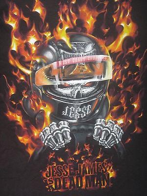 WEST COAST CHOPPERS Motorcycle SKULL bike JESSE JAMES fire MENS NEW XL