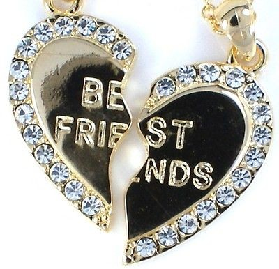 BEST FRIEND Gold Tone Crystal 2 Pendants & 2 Necklaces BFF Friendship