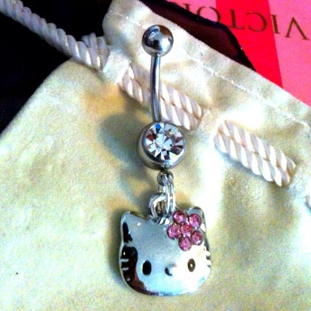 Hello Kitty Crystal Surgical Steel Belly Button Ring