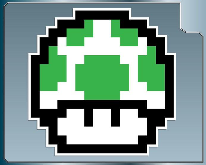 UP MUSHROOM #1 8Bit Vinyl Decal Sticker Super Mario Bros. Luigi