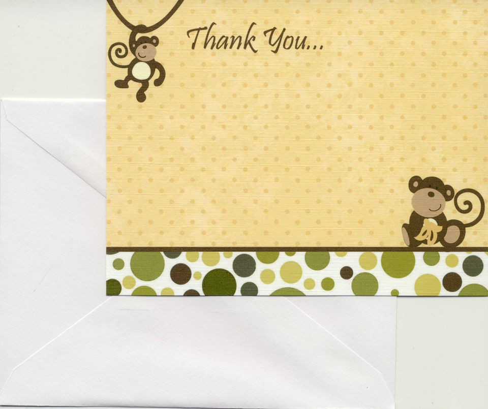 24 Printed Cocalo Monkey Time Baby Shower Thank You Cards