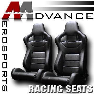 Latest Version 2x MU Type JDM Blk PVC Leather Reclinable Racing Seats