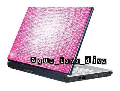 Silver Notebook Laptop Cover Rhinestone Crystal Sticker Skin Fit 12 13
