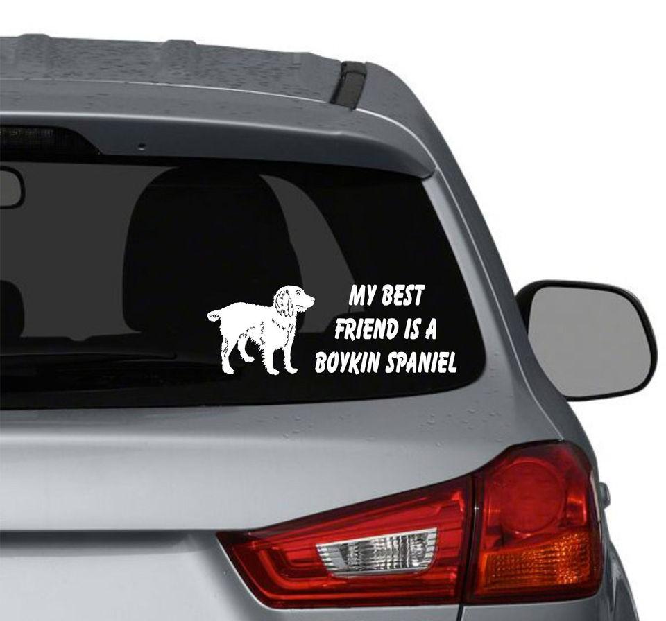 My best friend is a Boykin Spaniel Dog vinyl car window decals