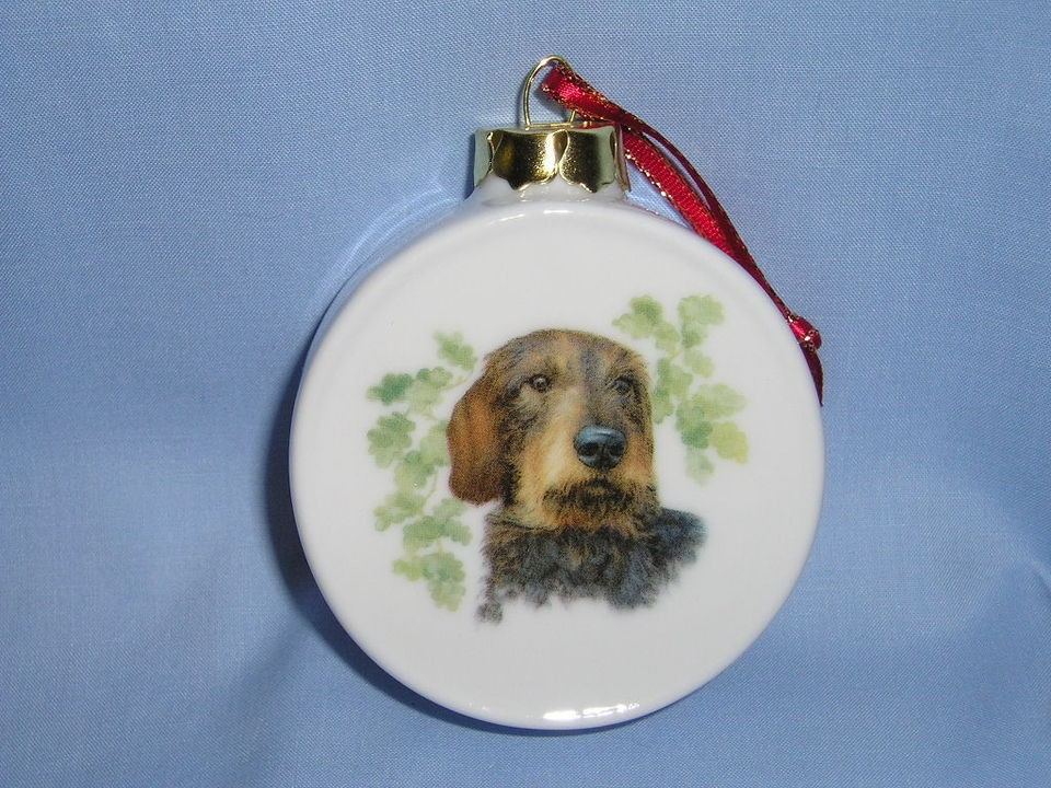 Dachshund Wirehaired Dog Porcelain Christmas Tree Drum Ornament Fired