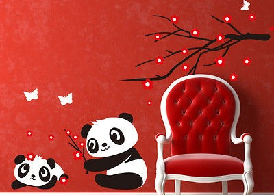 Baby Panda Wall Sticker Home Decoration Panda and Cherry Blossom Tree