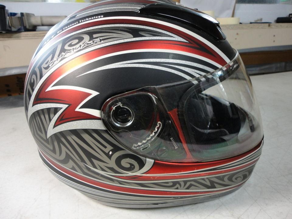 Fulmer full face street motorcycle helmet L large red grey black matte