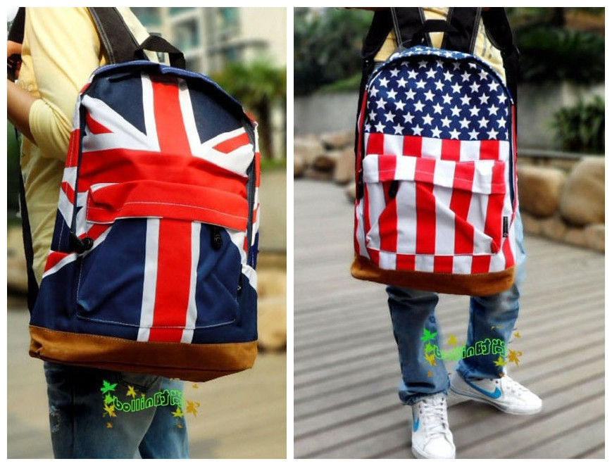 New Union Jack UK US Flag Design Personality Canvas Backpack School