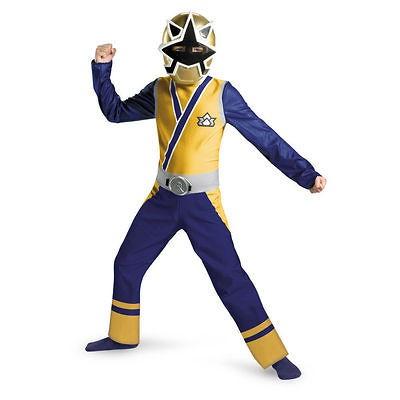 Samurai GOLD Ranger Costume L 10 12 Boys Child Kid Halloween Light
