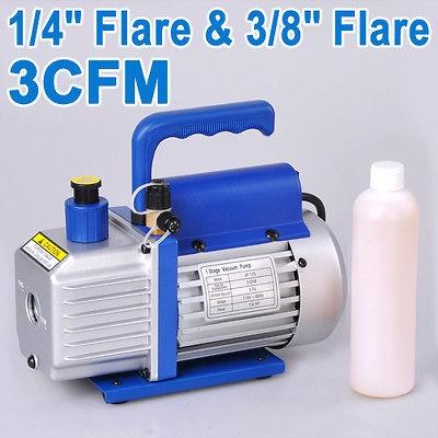 1Stage 1/4HP Rotary Vane 3CFM Vacuum Pump 1400PRM Refrigerant HVAC AC