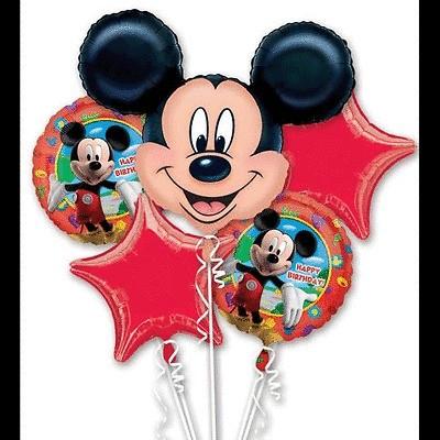 MICKEY MOUSE BALLOON BOUQUET BIRTHDAY MYLAR FOIL   5 BALLOONS