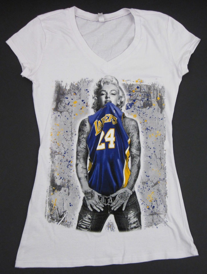 MARILYN MONROE V Neck T shirt LA LAKERS Kobe Tattoo Graffiti Art S XL