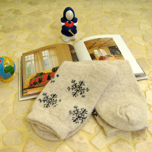 Snow Flower Pattern Socks Angora Wool Socks Woman Socks Winter Socks