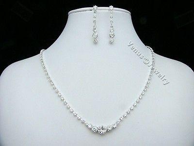 Bridal Wedding Prom Rhinestone Crystal Necklace Earrings set 1241