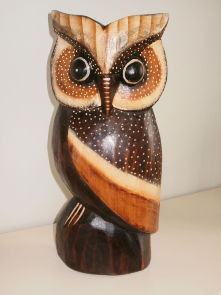 Wooden animal carved owl bird large cms wood carvings lle