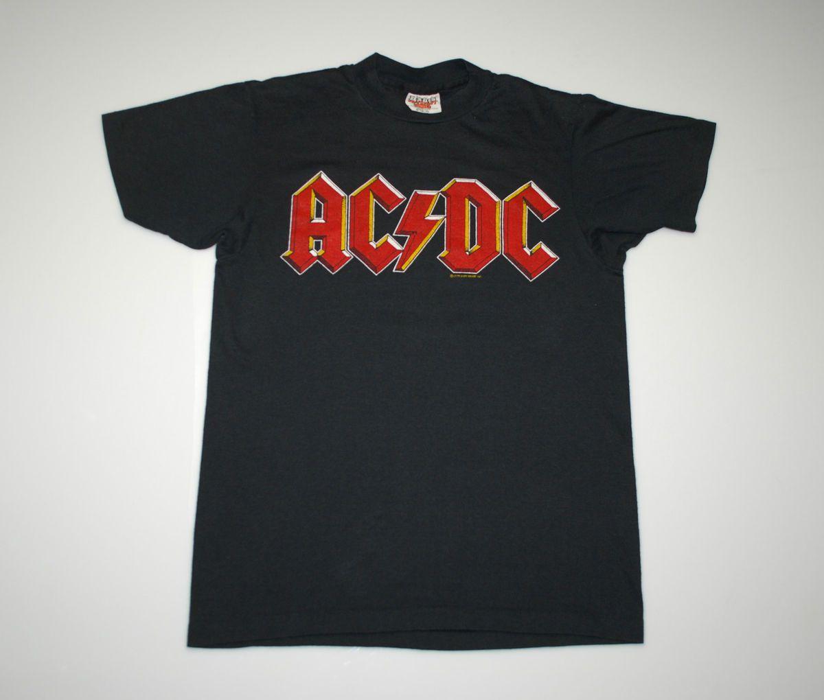 Vintage ACDC Back in Black Tour 1980 Shirt 1979 1970s M Original Vtg