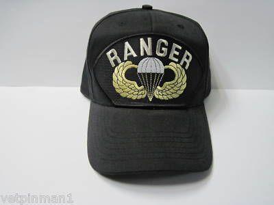 US Army Airborne Ranger Jump Wings Parachute Badge Paratroop Ball Cap