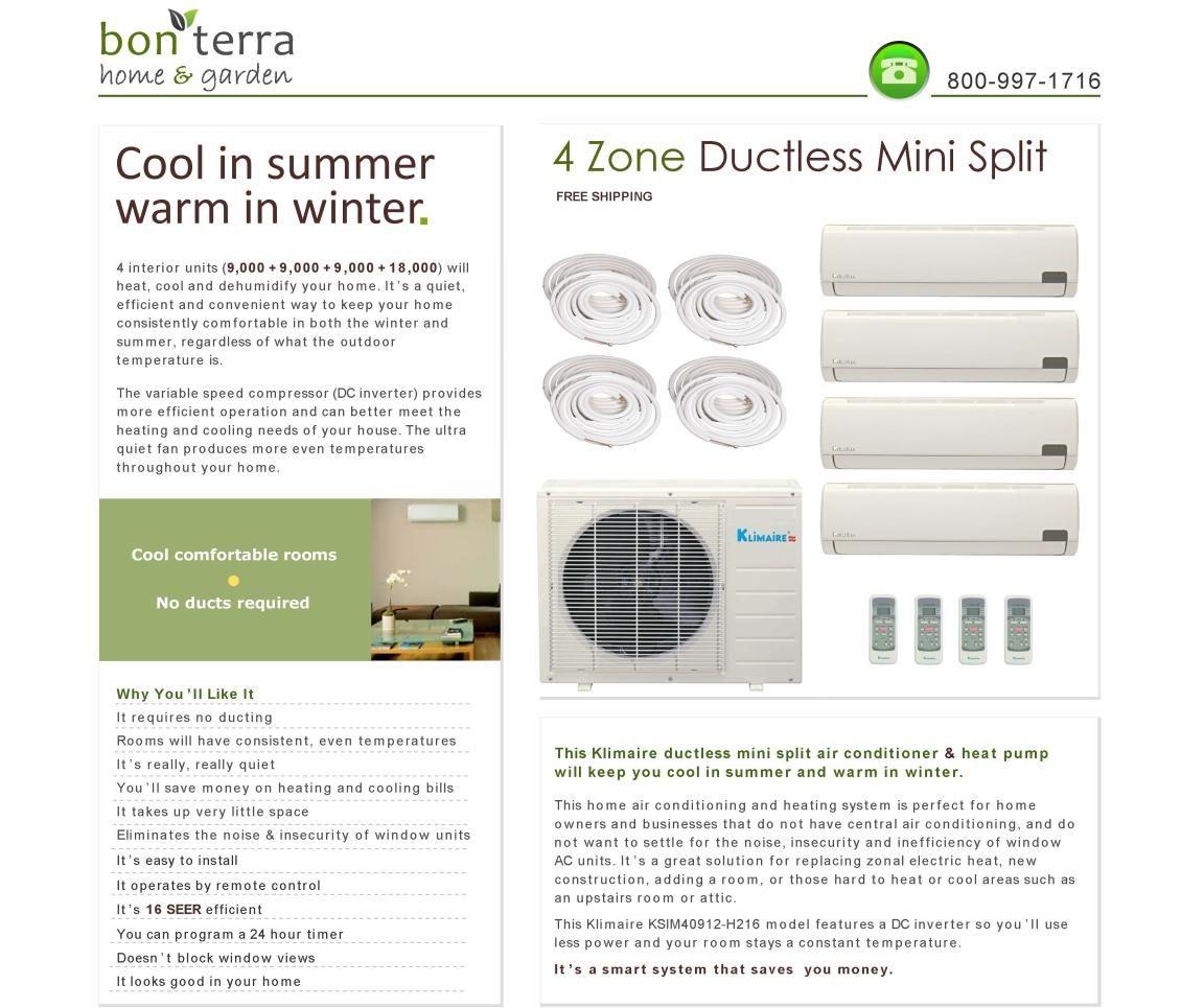 Quad Zone Ductless Split Air Conditioner Heat Pump Inverter 9K 9K 9K
