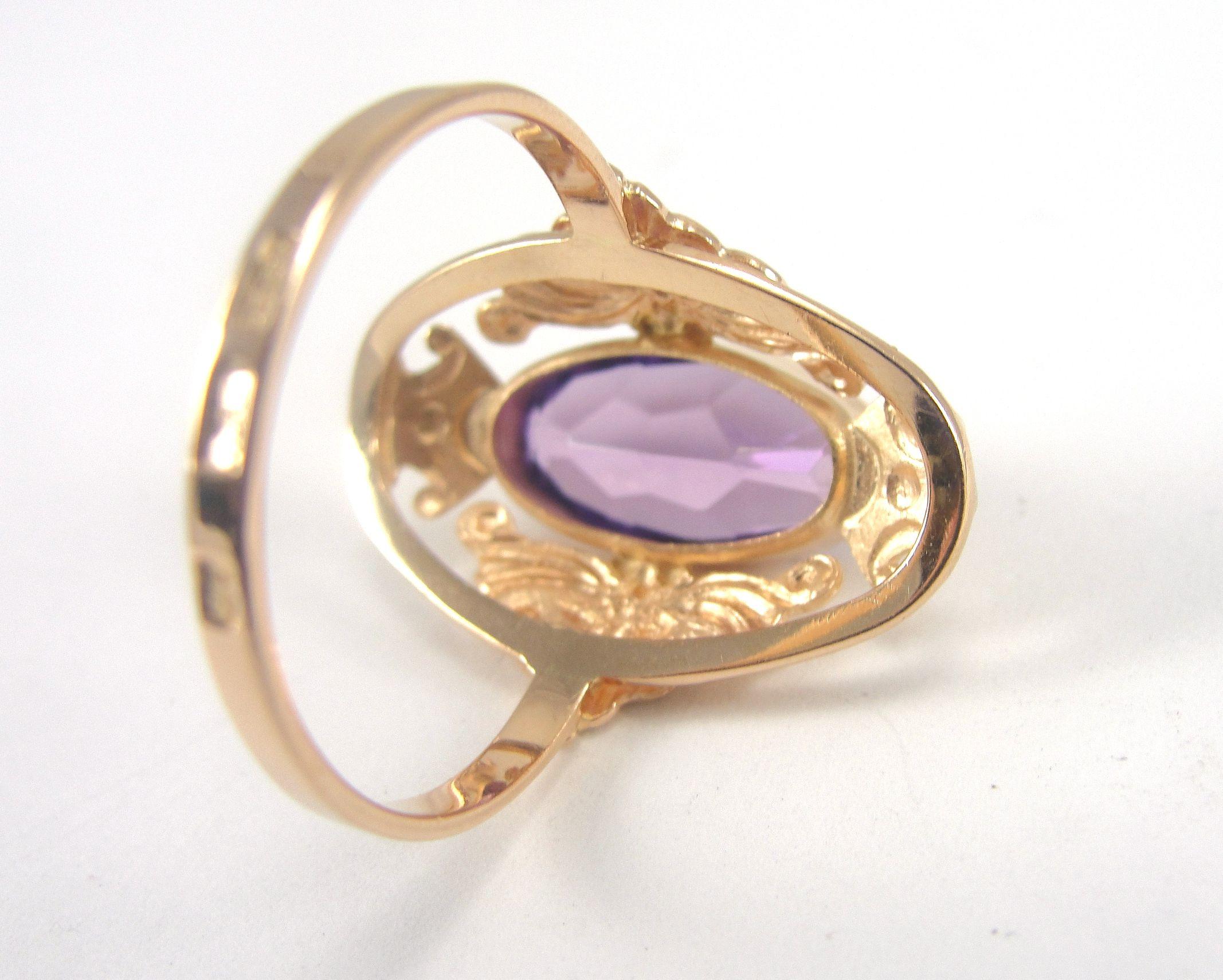 14K Rose Gold Ring Amethyst Russian Soviet Union Era Size 10