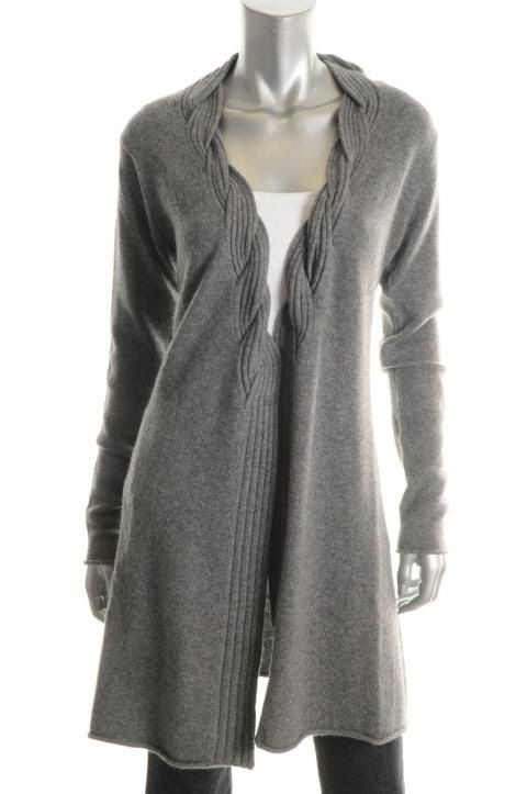 Hayden New Gray Cashmere Cable Knit Open Front Cardigan Sweater Top s
