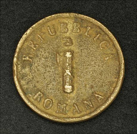 1849, Roman Republic, Ancona City. Scarce Cast Copper Baiocco Coin. R