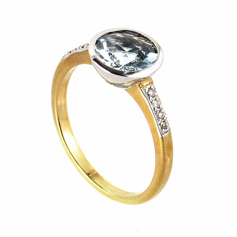 10K Yellow White Gold Diamond Aquamarine Ring