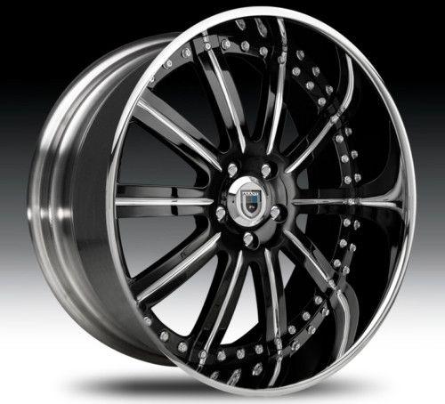 24 asanti AF134 Black Chrome Wheels Rims 2 Piece Tone