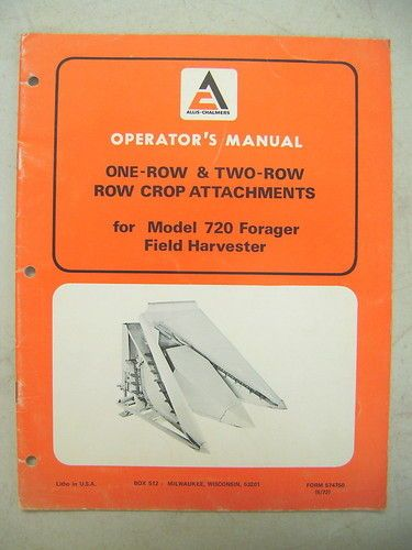 ALLIS CHALMERS ROW CROP ATTACHMENTS FOR 720 HARVESTER