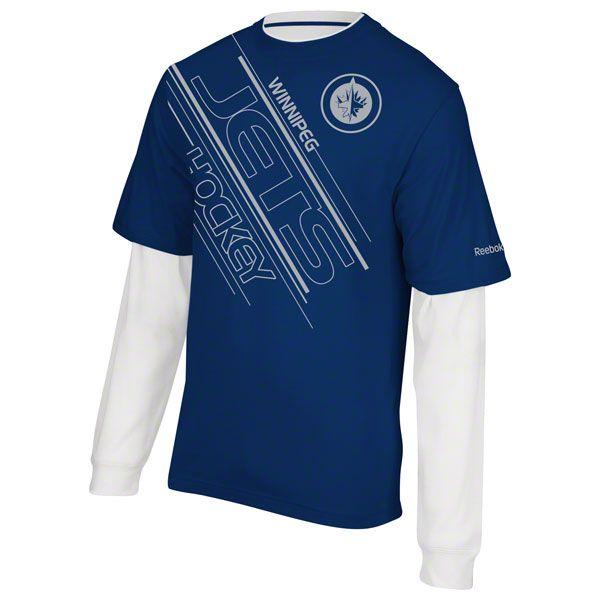 Winnipeg Jets Blue Reebok Face Off Layered Sport Long Sleeve T Shirt