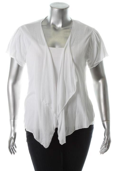 American Rag New Long Beach White Asymmetric Cardigan Sweater Plus 1x