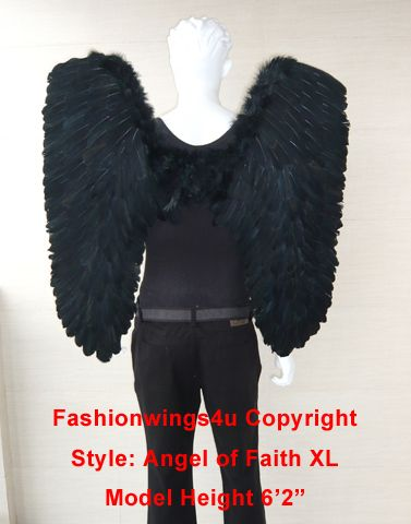 XL Black Feather Angel Wings Mens Gothic Demon Cosplay