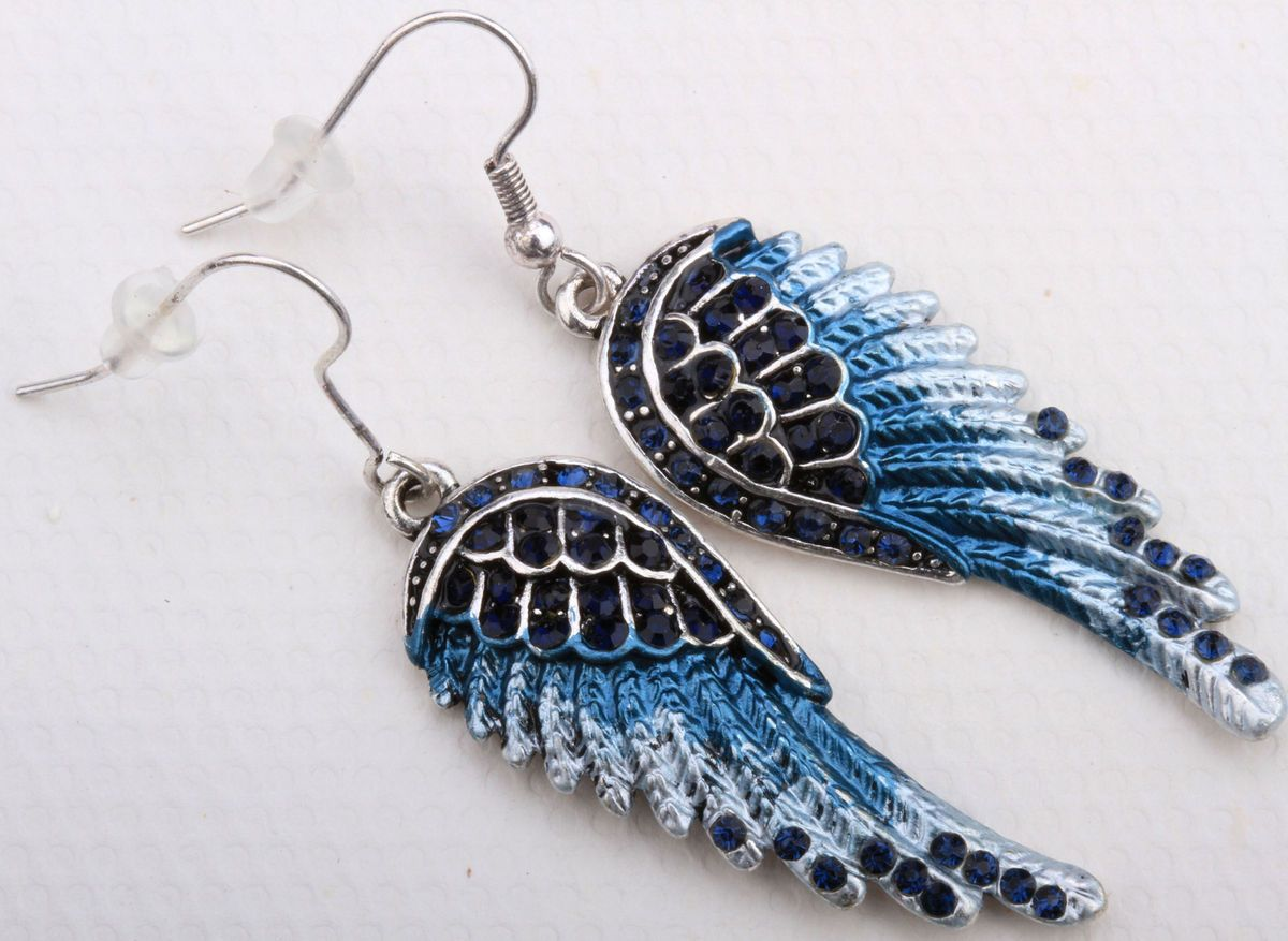 Dark Blue Crystal Angel Wing Earrings EC23 Matching Ring Pin Pendant
