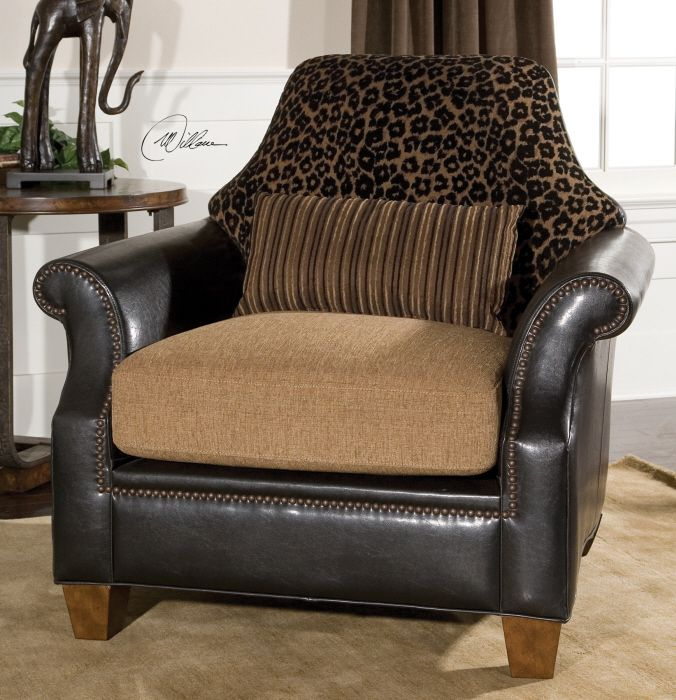 Designer Chic Golden Brown Black Animal Print Arm Chair w Striped