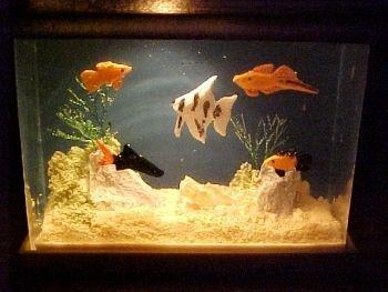 Fish Tank Filled w Tropical Fish Aquarium for Doll House