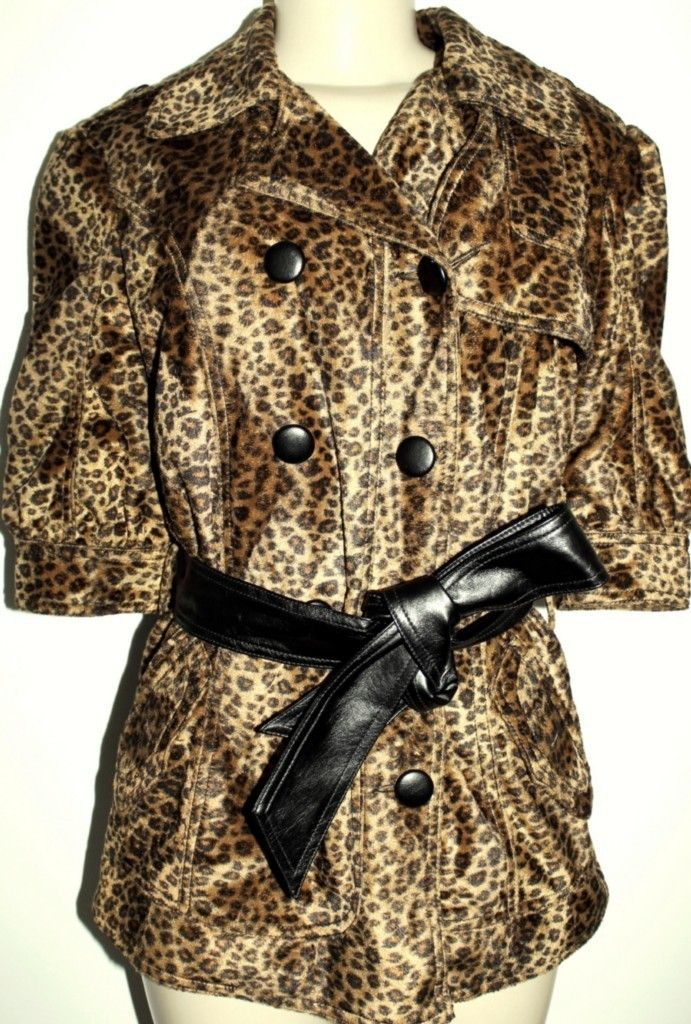 Aryn K Womens Cheetah Animal Leopard Print Belted Jacket Half Slv Coat