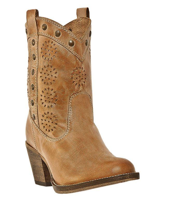 Handmade Womens Western Cowboy Boots Tan Medium B M Dingo Roni 792