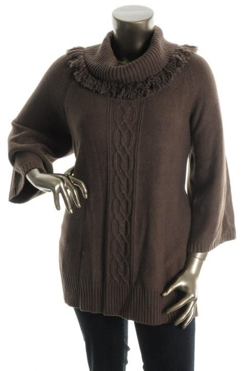 Karen Scott New Brown Cable Knit Fringe Cowl Neck Tunic Sweater Plus